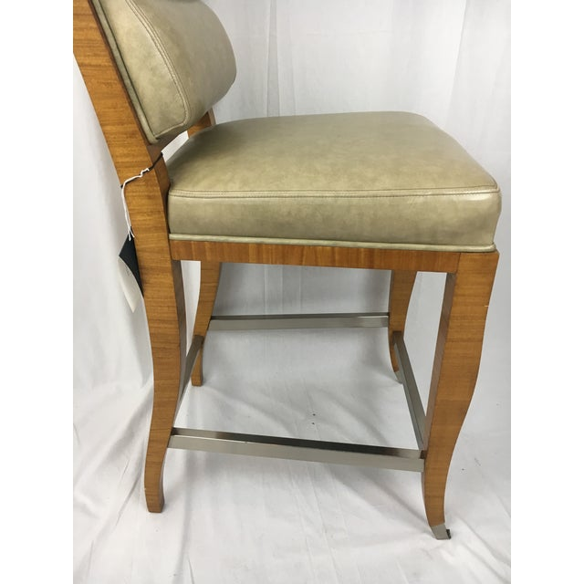 Lemonwood Green Aubusson Bar Stool For Sale - Image 9 of 9