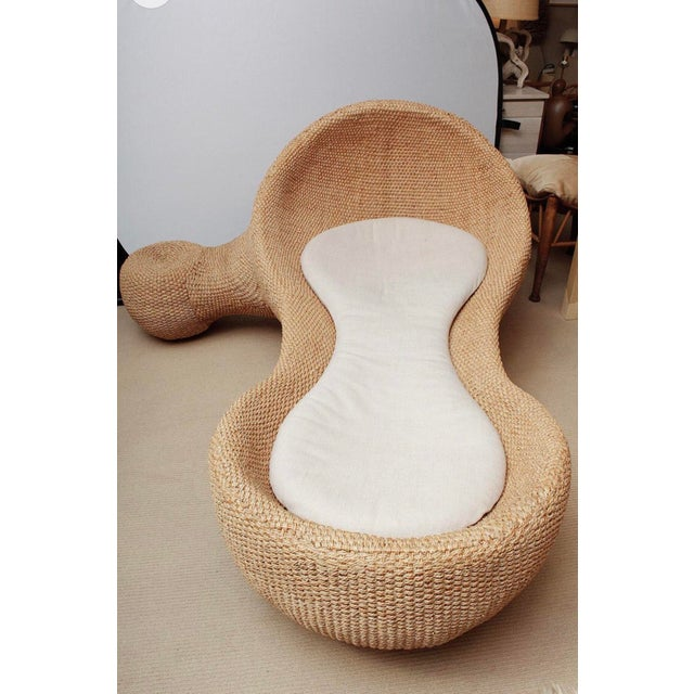 Modernist Woven Wicker and Rope Chaise Lounge For Sale - Image 9 of 12