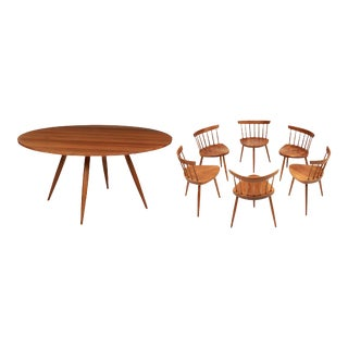 Magnificent Early Set of Round Table with Mira Chairs by George Nakshima - Set of 7 For Sale