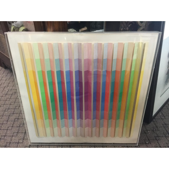 Anne Youkeles Op Art 1970 Cascade II Signed Lmt Ed Mixed Media For Sale - Image 10 of 10