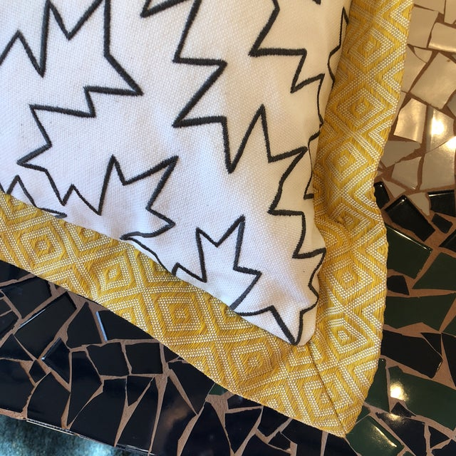 Large pair of custom designed pillows in Jim Thompson outdoor fabric using black zigzag embroidered on white linen with a...