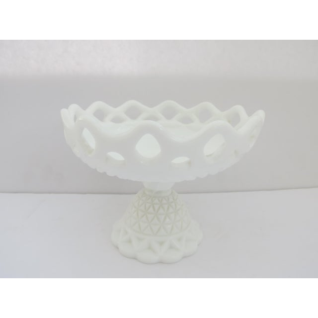 Vintage 1950s milk glass footed compote. Signed with the IG on the inside base for Imperial Glass, this is the Lace Edge...