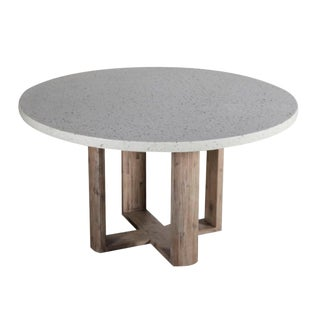 Terrazzo & Acacia Round Dining Table For Sale