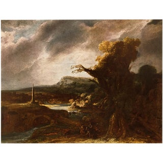"1950s Vintage ""Landscape With an Obelisk"" Lithograph by Rembrandt For Sale"