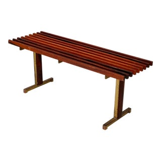Bench by Carlo Graffi From 1950 in Brass and Walnut Wood For Sale
