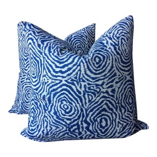 Quadrille Alan Campbell Meloire New Navy Pillows - A Pair For Sale