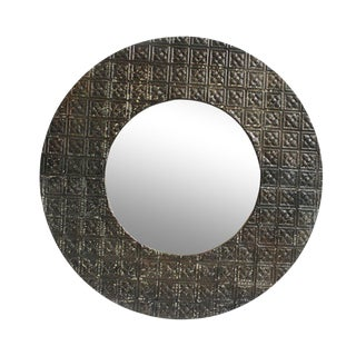 Round Ceiling Tin Mirror For Sale