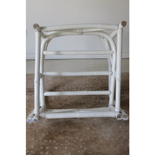 Vintage Mid Century White Bamboo Chairs - a Pair For Sale In New Orleans - Image 6 of 12