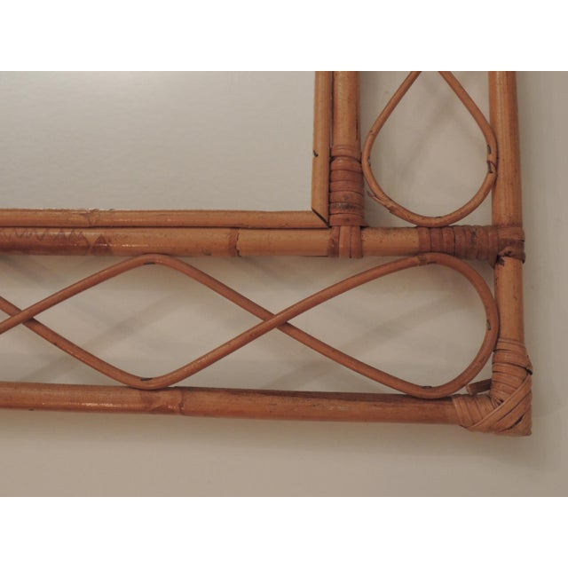Country Vintage Bamboo and Rattan Wall Mirror For Sale - Image 3 of 6
