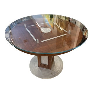 Vintage Brushed Steel and Wood Accent Table For Sale