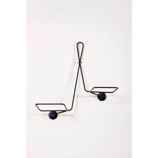 Black Mathieu Matégot Black and Grey Lacquered Metal Wall Planter Holder, Circa 1950 For Sale - Image 8 of 10