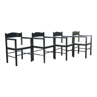 Vico Magistretti Style Black Lacquer Italian Rush Armchairs Chairs - Set of 4