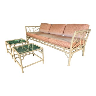Faux Bamboo Metal Chinoiserie Patio Sofa and Tables For Sale