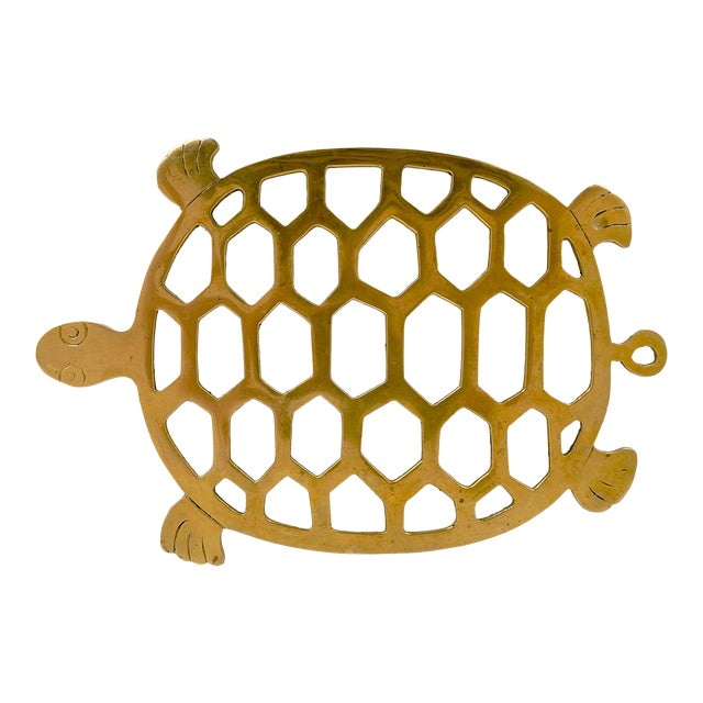 Vintage 1970s Brass Turtle Trivet For Sale