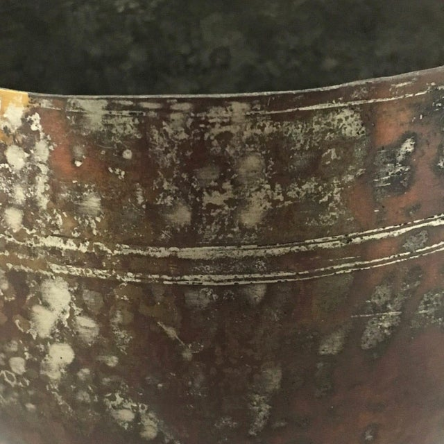 Islamic Antique Burnished Copper Bowl |Signed Ottoman-Era Copper Bowl For Sale - Image 3 of 5