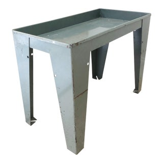 20th Century Industrial Gray Enamel on Steel Side Table For Sale