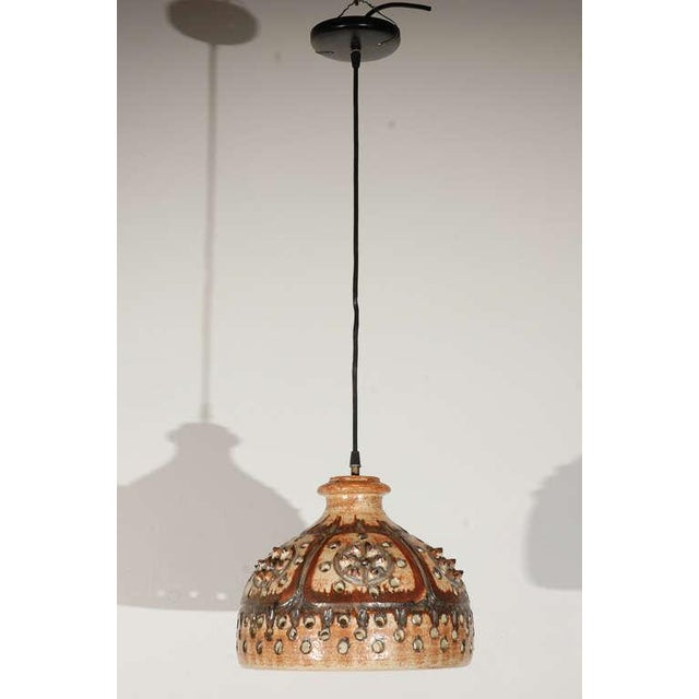 Brown Signed Jette Helleroe Art Pottery Light Fixture For Sale - Image 8 of 8