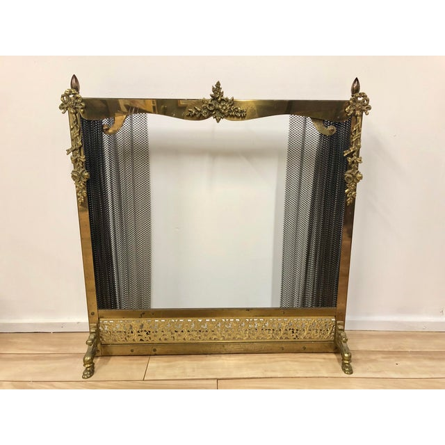 Metal French Louis XVI Ornate Vintage Brass & Sliding Iron Mesh Fireplace Screen For Sale - Image 7 of 9