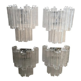 "Two Tier Chrome and Clear Murano Glass ""Tronchi"" Wall Sconces - Set of Four For Sale"