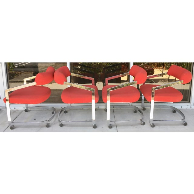 1980s Dia Chairs on Casters - Set of 4 For Sale - Image 5 of 8