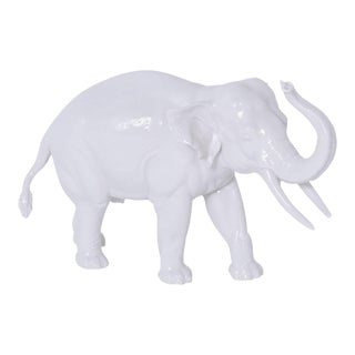 Numphenberg Porcelain Elephant with a White Glaze For Sale