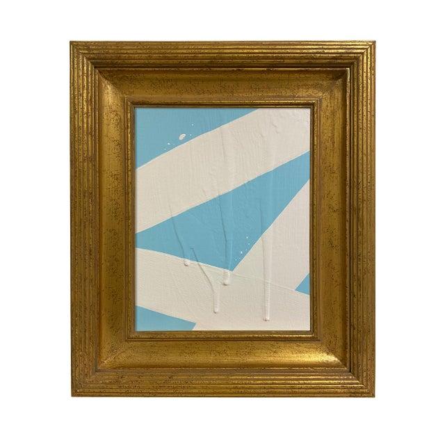 Ron Giusti Mini Abstract Light Blue Cream Acrylic Painting For Sale