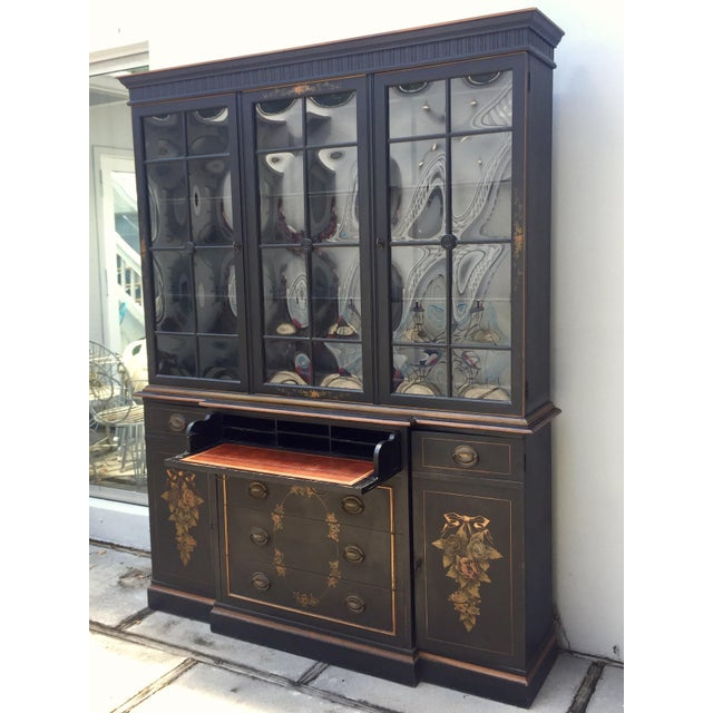 Tons of storage in this handsome vintage Hitchcock style breakfront. The original bubble glass is perfect and a really...