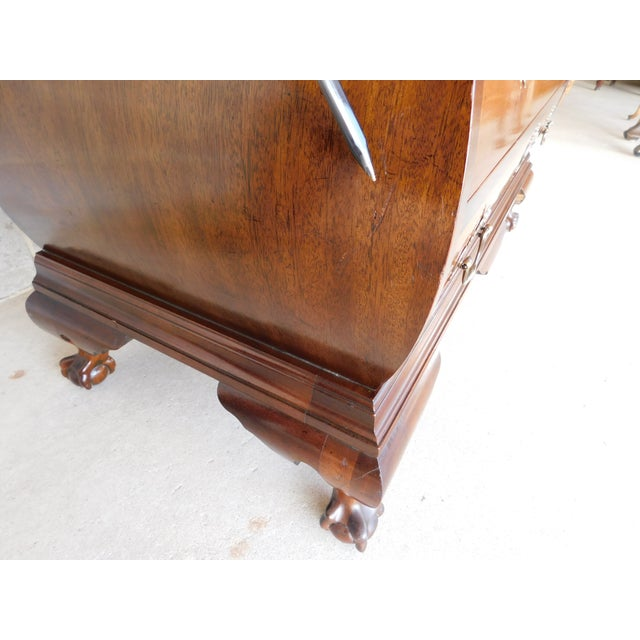 Vintage Chippendale Bombe Style Mahogany Chest 39w For Sale - Image 9 of 13