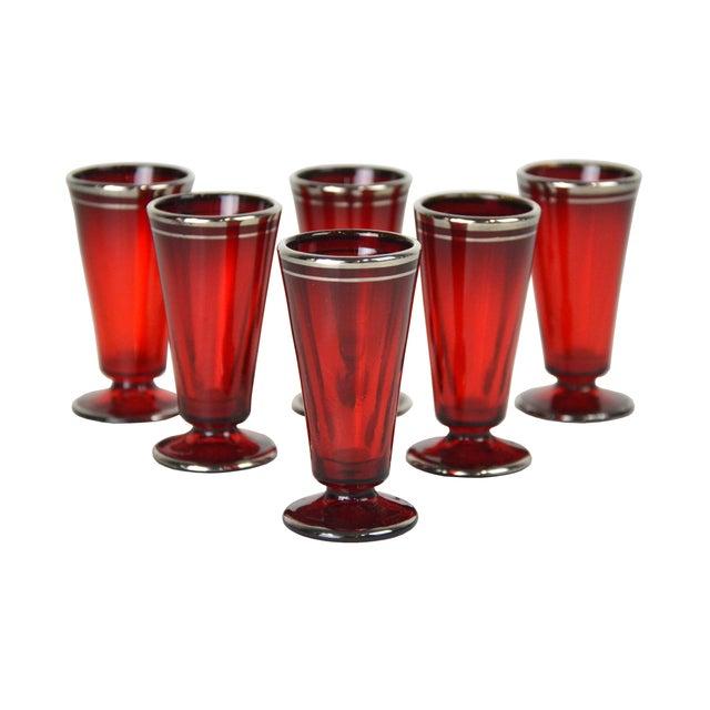 Vintage Crimson Liquor Cordials - Set of 6 - Image 1 of 4
