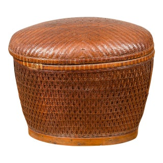 Vintage Chinese Oval Woven Rattan Basket with Lid and Geometric Motifs For Sale