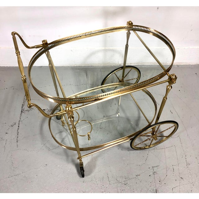 Vintage Maison Jansen Style Brass Bar Cart / Trolley For Sale - Image 12 of 13