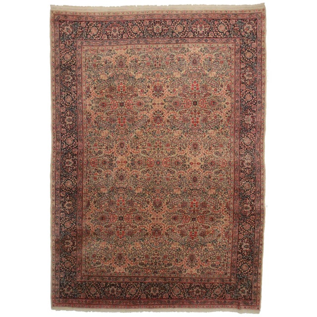 Hand Knotted Wool Persian Kerman Rug - 9′9″ × 13′7 For Sale