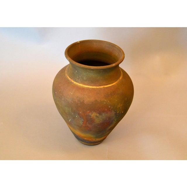Signed Mid-Century Modern Brown, Blue & Gold American Raku Vase, Vessel, Urn For Sale - Image 4 of 13