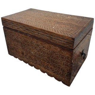 Modern Moroccan Wooden Cedar Trunk For Sale