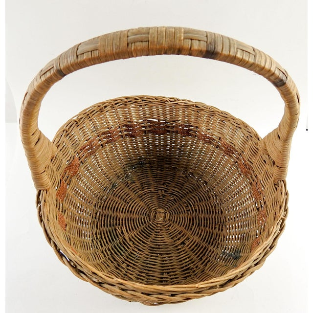 1930s Boho Chic Woven Reed Basket For Sale - Image 4 of 7