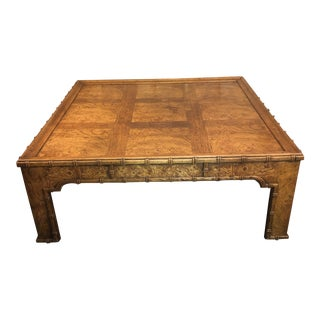 Vintage Drexel Heritage Burled Bamboo Coffee Table For Sale