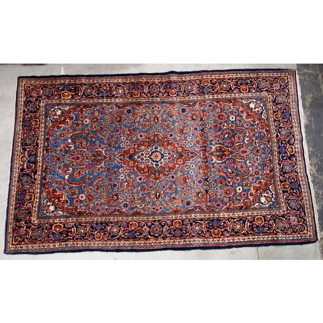 Textile 1900s, Handmade Antique Persian Kashan Rug 4.1' X 6.6' - 1b706 For Sale - Image 7 of 12