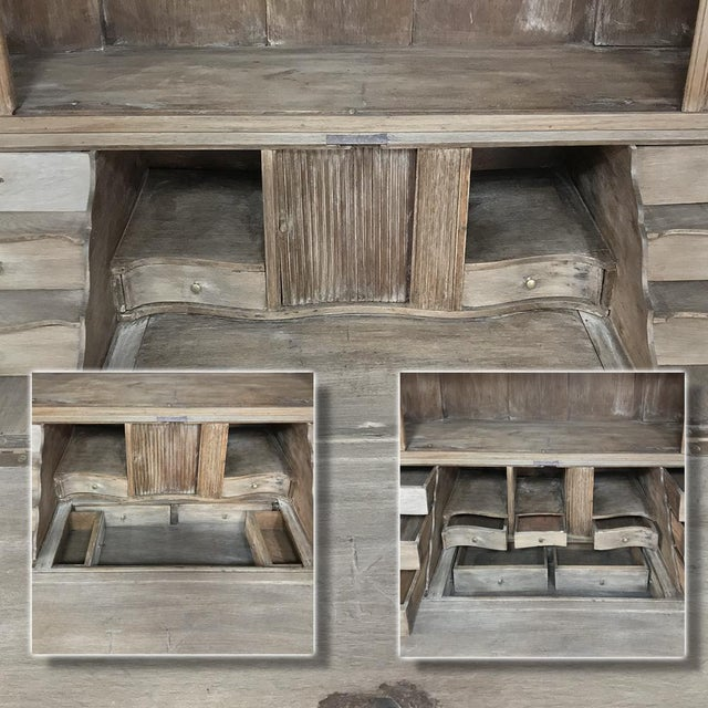 Gold 18th Century Dutch Tambour Stripped Oak Secretary ~ Bookcase For Sale - Image 8 of 13