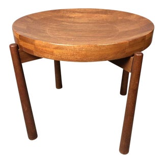 20th Century Danish Modern Jens Quistgaard for Nissen Teak Side Table Stool For Sale