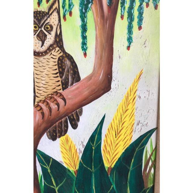Masonite Haitian Folk Art Painter Owls Painting by Adam Leontus For Sale - Image 7 of 11