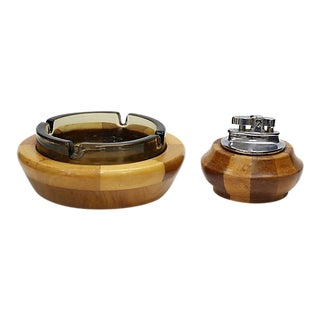 Mid-Century Wood Ashtray & Lighter For Sale