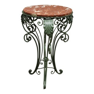 Vintage Art Nouveau Round Rouge Marble Top Wrought Iron Side Table For Sale