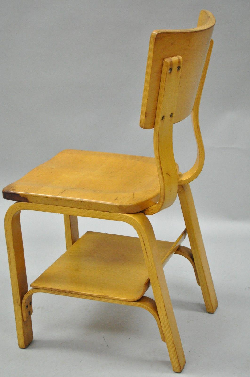Vintage Thonet Mid Century Modern Bentwood Students Desk School Chair    Image 5 Of 11