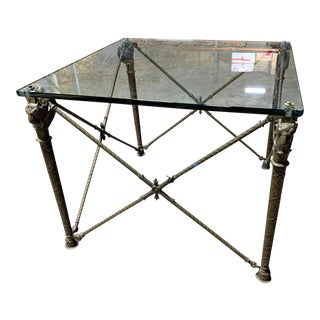 Neoclassical Style Bronze and Glass Ram's Head Cocktail Table For Sale