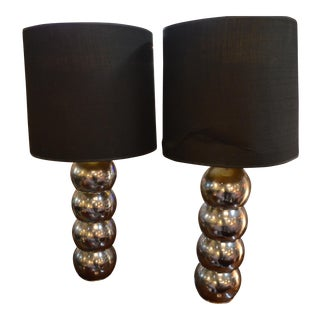Vintage Mid Century Modern George Kovacs Stacking Chrome Ball Lamps With Black Shades - a Pair For Sale