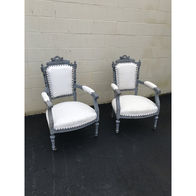 Gray & White Dining Chairs - a Pair For Sale In Atlanta - Image 6 of 8