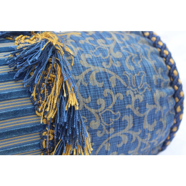 Contemporary Small Small Silk and Velvet Bolster Pillow in Blue and Gold For Sale In San Diego - Image 6 of 13