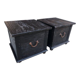 Antique Trunk Chest Side Tables - a Pair For Sale
