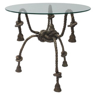 Maison Jansen Style Solid Brass Rope Table For Sale