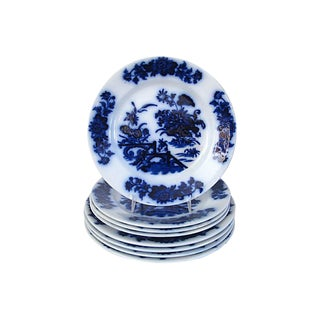 1860s Flow Blue Chinoiserie Plates, S/8 For Sale